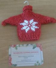 THREE HAND KNITTED SKIING JUMPER XMAS TREE DECORATIONS. SNOWFLAKES