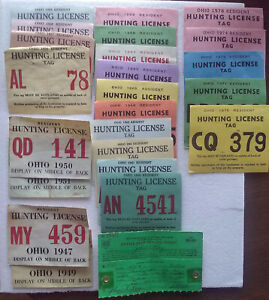 Ohio Hunting & Trapping License, 1947, 49-51, 1956-71, 73-74, 78, 56 Deer Permit