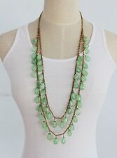 Dainty 2 Strand Chain Gemstone Gold Plated Long Necklace, Lead and Nickel Safe