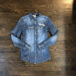 Harley Davidson pearl snap denim button up Embroidered Size XS Top