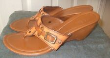 """Cole Haan Size 10 Tan Leather 3"""" Wedge Heel Sandals Women's Shoes"""