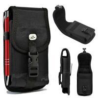 For Motorola Moto E5 /Moto E5 Plus Heavy Duty Buckle Nylon Pouch Belt Clip Black