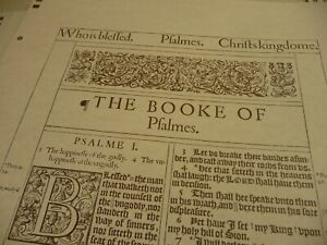 Unbound 1611 KJV Bible Facsimile of Psalms & John. Deluxe Parchment edition.