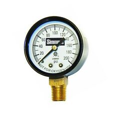 "Simmons 1306 Well Pressure Gauge Air Steam or Water 200 psi 1/4"" Connection"