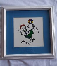 "STICK FIGURE KIDS PRINT by DONNA KLOTKLE SOCCER ""GOAL"""