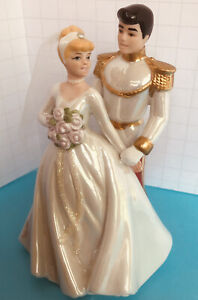 "Disney Cinderella & Prince Charming Cake Topper Figurine Wedding 5.5"" Nwt"
