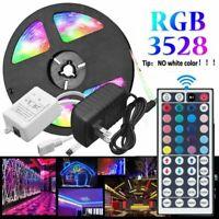 5M RGB LED Strip Lights 3528 SMD 44 Key IR Remote 12V DC AU Plug Power Full Kits