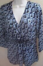 top blouse large l blue print stretch long sleeves lightweight casual v neck