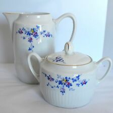 Tirschenreuth Bavaria Porcelain Creamer Pitcher Sugar Bowl Lid Blue Rose Vines