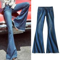 Plus Size Women Retro Bootcut Flare Jeans Pants Slim Skinny Bell Bottom Trousers