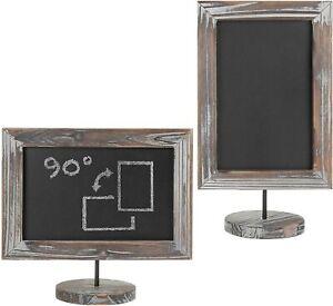 Tabletop Torched Wood Vertical / Horizontal Framed Chalkboard Sign, Set of 2