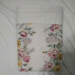 VINTAGE CANNON BLUE & YELLOW ROSES BIG FLORAL KING FLAT SHEET shabby chic