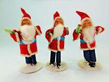 "Vtg Christmas Straight Leg Santa Putz style Figures Japan Scroll Leg 4"" Lot of 3"