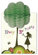 PAPERJOY: Happy birthday girl and tree - Pulp Honeycomb Greetings Card Pop up