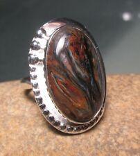 Sterling silver 925 cabochon Pietersite ring UK K¾-L/US 5.75-6. Gift bag.