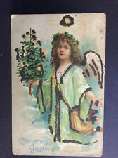 Christmas Greetings Angel Holly Crown Holding Tree Vtg Postcard Glitter Unposted