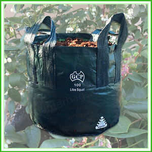 100 litre SQUAT WOVEN Planter Bags Pack x 1. Plant bags Landscape Grow bag