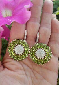 Marquise &Round Cut Peridot w/Topaz Cluster Dangle Earrings 925