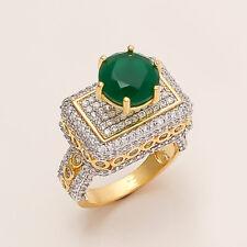Natural Zambian Emerald Solitaire Princess Ring Gold Tone Women Wedding Jewelry