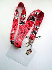 Disney Minnie Mouse Lanyard Neck Strap + Clear PVC ID Holder + Charm