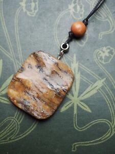 Jasper Gemstone Pendant On Cord - Pagan, Wicca, Witchcraft, Healing, Crystal