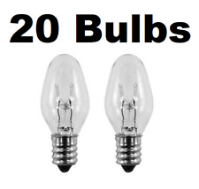 Box of 20 Nightlight Bulbs 15C7, Clear, 15 Watt, 120 Volt, E12 Candelabra Base