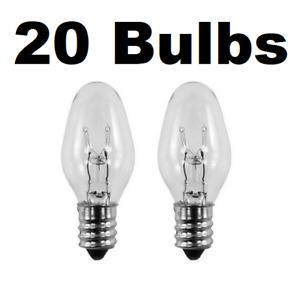Box of 20 Nightlight Bulbs 15C7, Clear, 15 Watt, 120 Volt, E12 Candelabra Base