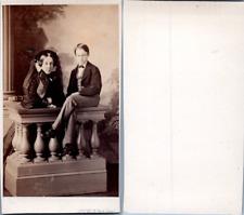 Levitsky, Paris, Femme et un jeune garçon en pose, circa 1860 CDV vintage albume
