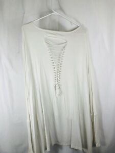 Free People Gypsy Junkies White Long Sleeve Top One Size Ripped Braided BOHO