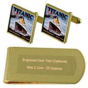 White Star Line Titanic Gold-Tone Cufflinks Money Clip Engraved Gift Set