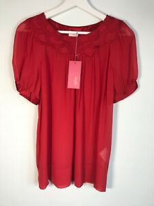 Whistles 100% Silk Top Blouse with Silk Trim to Neck and Sleeves Red UK12