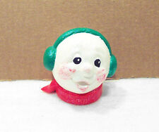 """SNOWMAN Head Only 3"""" White with Earmuffs Singing Ceramic"""