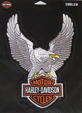 "Harley Davidson Eagle Silver Patch Large 10.5"" X  7 3/4"" ""SHIPS INTERNATIONAL"""