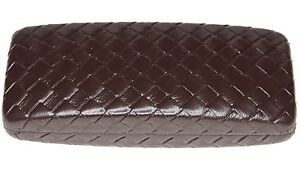 NEW Nice X-Large WOVEN LOOK Brown Eyeglasses Glasses Hard Case w/ Cleaning Cloth