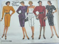 VOGUE BASIC DESIGN PATTERN for DRESS with PEPLUM VARIATIONS