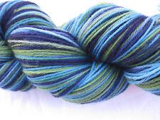 100gm Pure Merino Wool 4 ply  Knitting Navy Lime Aqua  Hand-dyed Yarn 450m