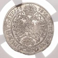 AUSTRIA, Breslau. Leopold I, Silver 3 Kreuzer, 1695-MMW, NGC AU55