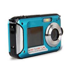 Double Screen HD 24MP Waterproof Digital Video Camera 1080P DV,Blue U7P9