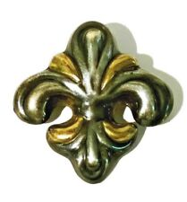 Gold French Fleur De Lis Brooch Pin Vintage Taxco Mexico Sterling Silver 925 &