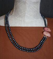 collar artesanal con  minerales naturales perlas cultivadas