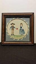 Amish couple framed watercolor small signed J.R. Ross