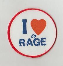 HUMOUR  SCREEN PRINTED SEW ON CLOTH PATCHES/BADGES SO73 I LOVE TO RAGE SIZE 7cm
