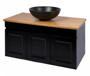 CABINET ONLY Matte Black Vanity Cabinet 900mm Polyurethane Matte MDF Board