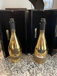 LOT OF 2 Ace of Spades Brut Gold EMPTY Champagne Bottle Armand De Brignac 750 ml