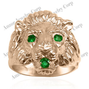 Heavy Men's Ring 14k Rose Gold Genuine Colombia Fine Quality Emerald Lion Ring