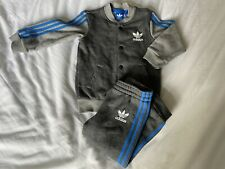 Adidas Tracksuit Set Baby Boy 18-24 Months Blue Grey Poppers