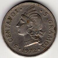 1972 DOMINICAN REPUBLIC 5 FIVE CENTAVOS NICE WORLD COIN