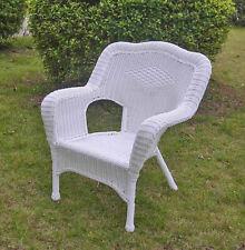 International Caravan Camelback Resin Wicker Patio Chair - White