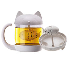 Tea Mug With Infuser Cat Glass Mugs Cup Strainer Filter Cute Gift (8.7OZ/250ML)