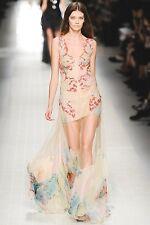 BLUMARINE Sequin Tulle Sheer Butterfly Print Bustier Dress Gown 38 2